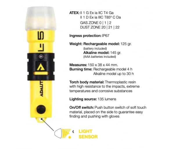 Фонарик ADALIT L5R + PLUS для опасных зон