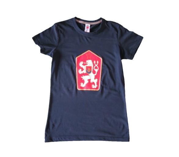 T-shirt Retro Czechoslovakia women's blue