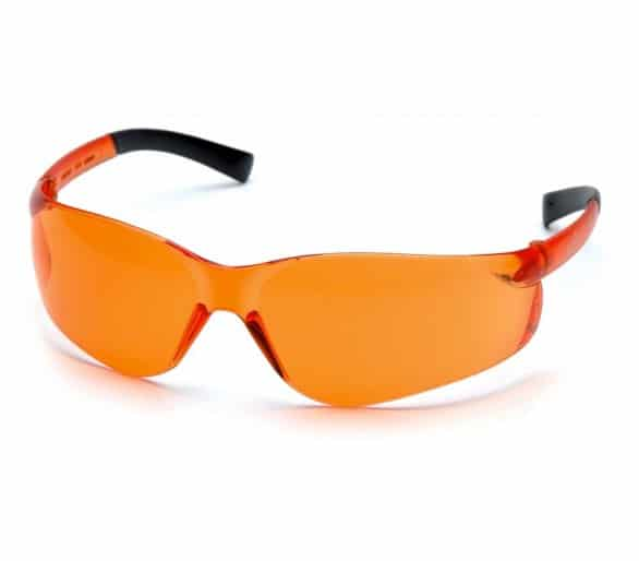 Ztek ES2540S, gafas de seguridad, lado negro, naranja